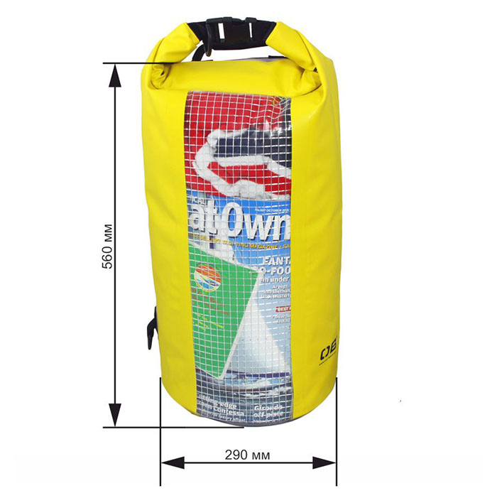 Водонепроницаемая сумка OverBoard OB1057Y - Waterproof Dry Tube Bag with Window - 20L. Фото 1