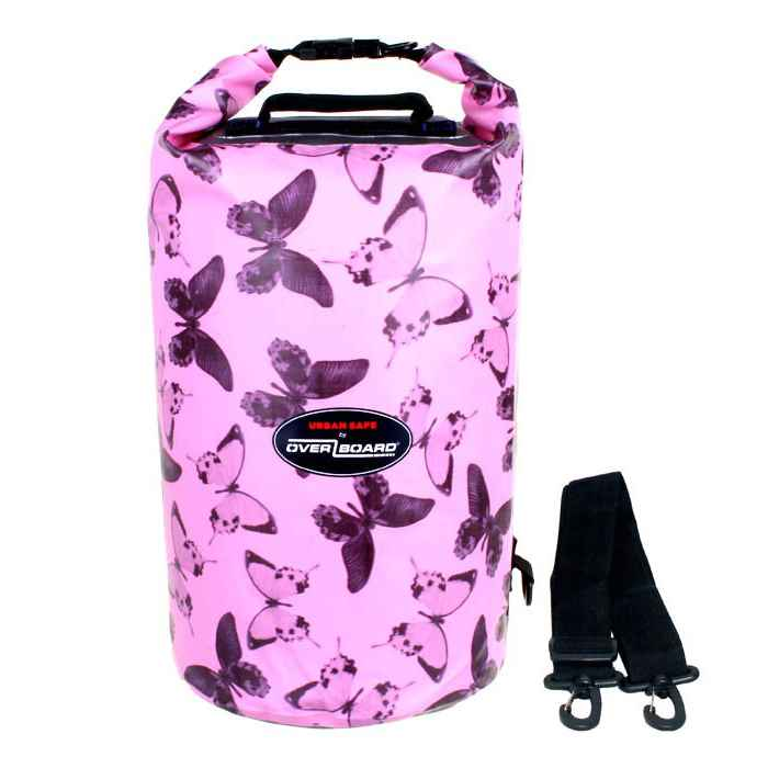 Водонепроницаемый гермомешок (с плечевым ремнем) OverBoard US1005P-Butterfly - Waterproof Dry Tube Bag - 20L (Pink)